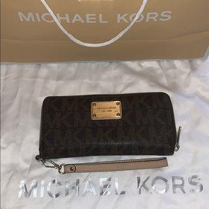 Michael Kors Signature Brown Logo Wallet/Wristlet